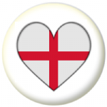 England Country Flag Heart 25mm Pin Button Badge